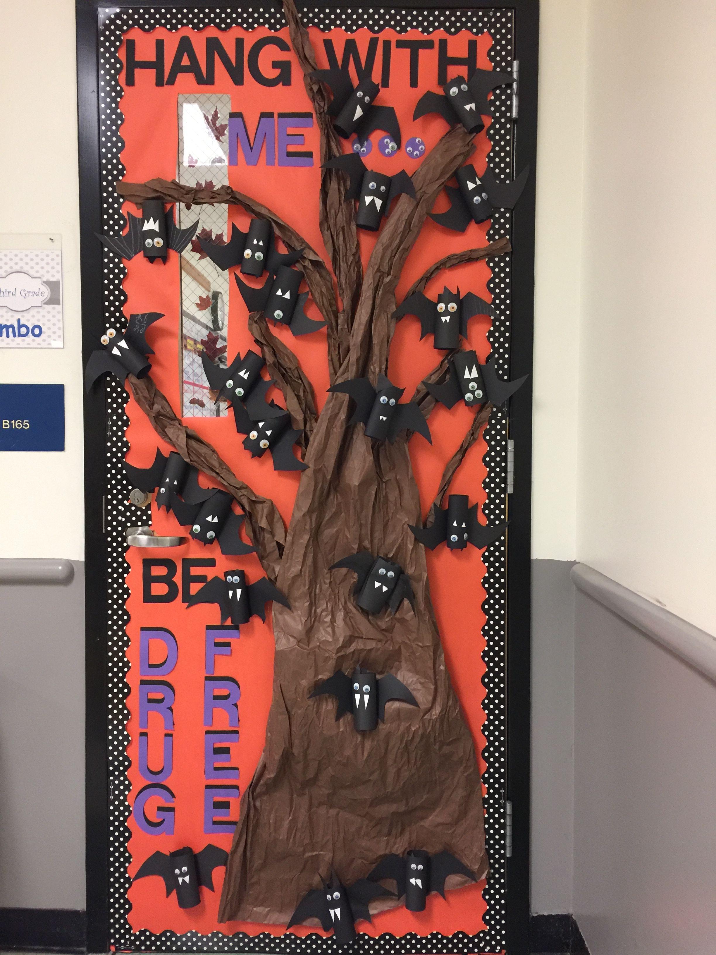 Red Ribbon week door decoration idea/ bats/drug free/Halloween - classroom door halloween decorations