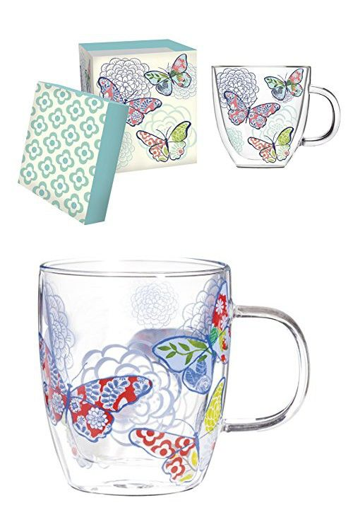 Cypress Home Metallic Butterfly Glass Coffee Cup, 12 ounces