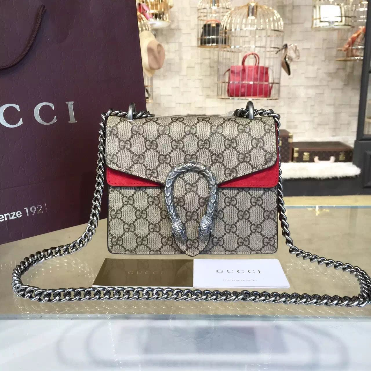 f222a05c2a7 Gucci Dionysus GG Supreme Mini Coated Canvas and Suede Small Shoulder Fall Winter  2016 Collection