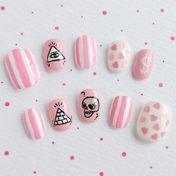 Lovely Skeleton Bones Nail Tips Japanese kawaii nail by MiCHiMALL ...
