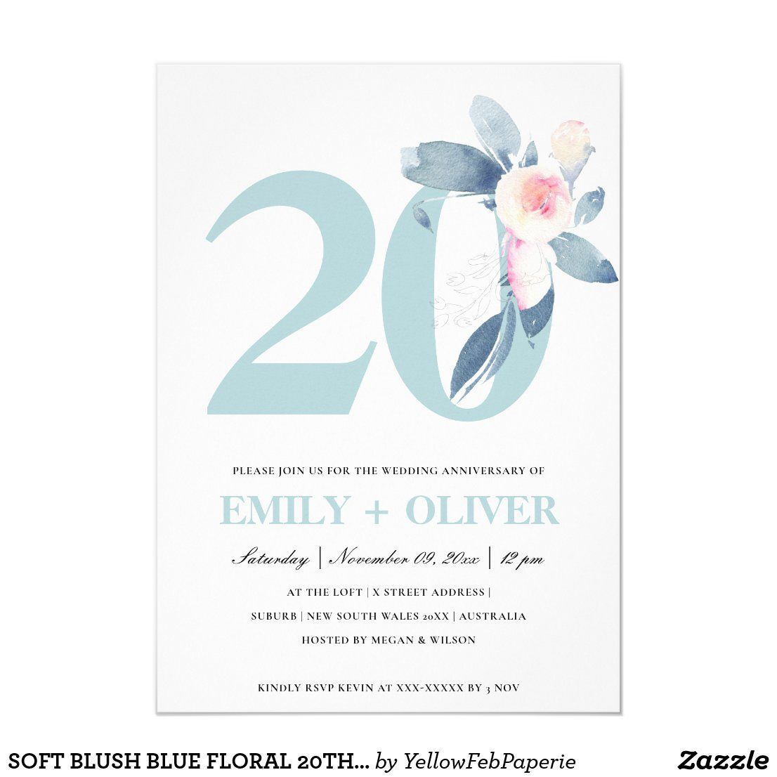 Soft Blush Blue Floral 20th Any Year Anniversary Invitation Zazzle Com Anniversary Invitations Invitations Year Anniversary