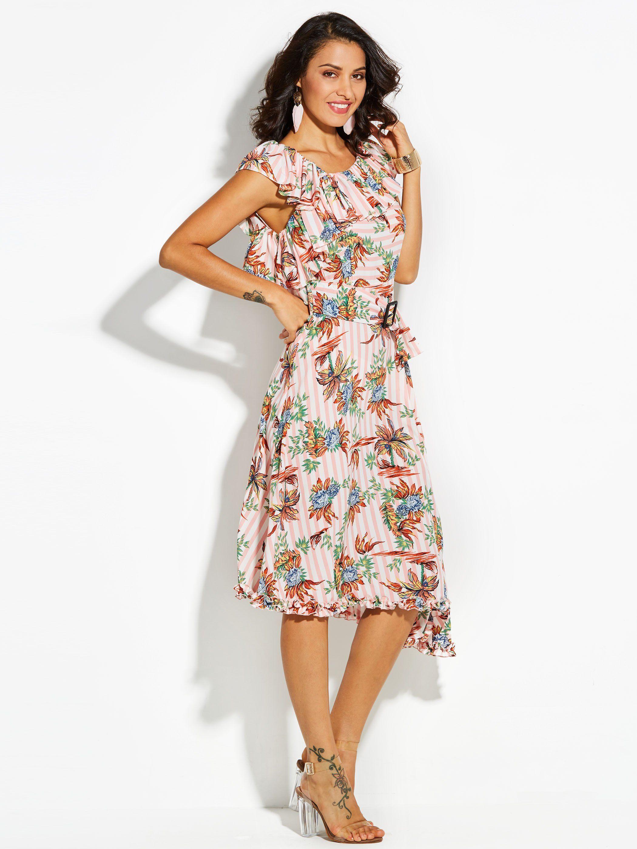 Ruffled collar color block floral womenus maxi dress ruffle collar