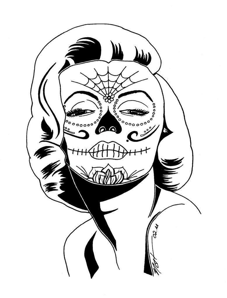 Marilyn Monroe Sugar Skull Coloring Pages
