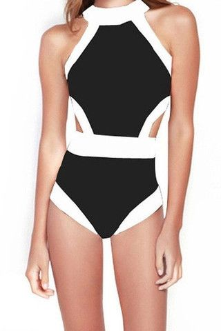 Cupshe Contrast White Black One-Piece Swimsuits