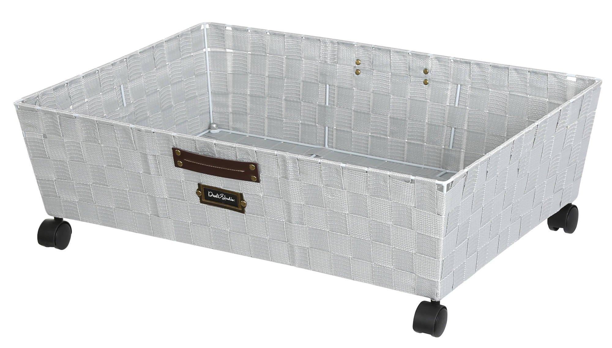 Woven Strap Under The Bed Storage Basket W Wheels Cool Grey Bed Storage Under Bed Storage Storage Baskets
