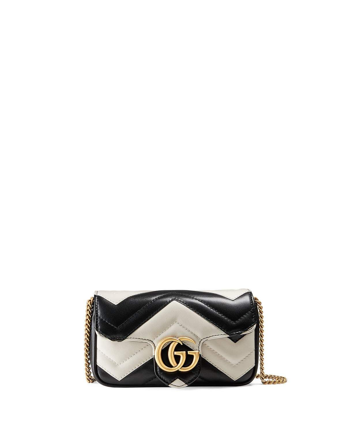 a61f788a1990 Gucci GG Marmont Matelassé Leather Super Mini Bag, Black/White | Neiman  Marcus