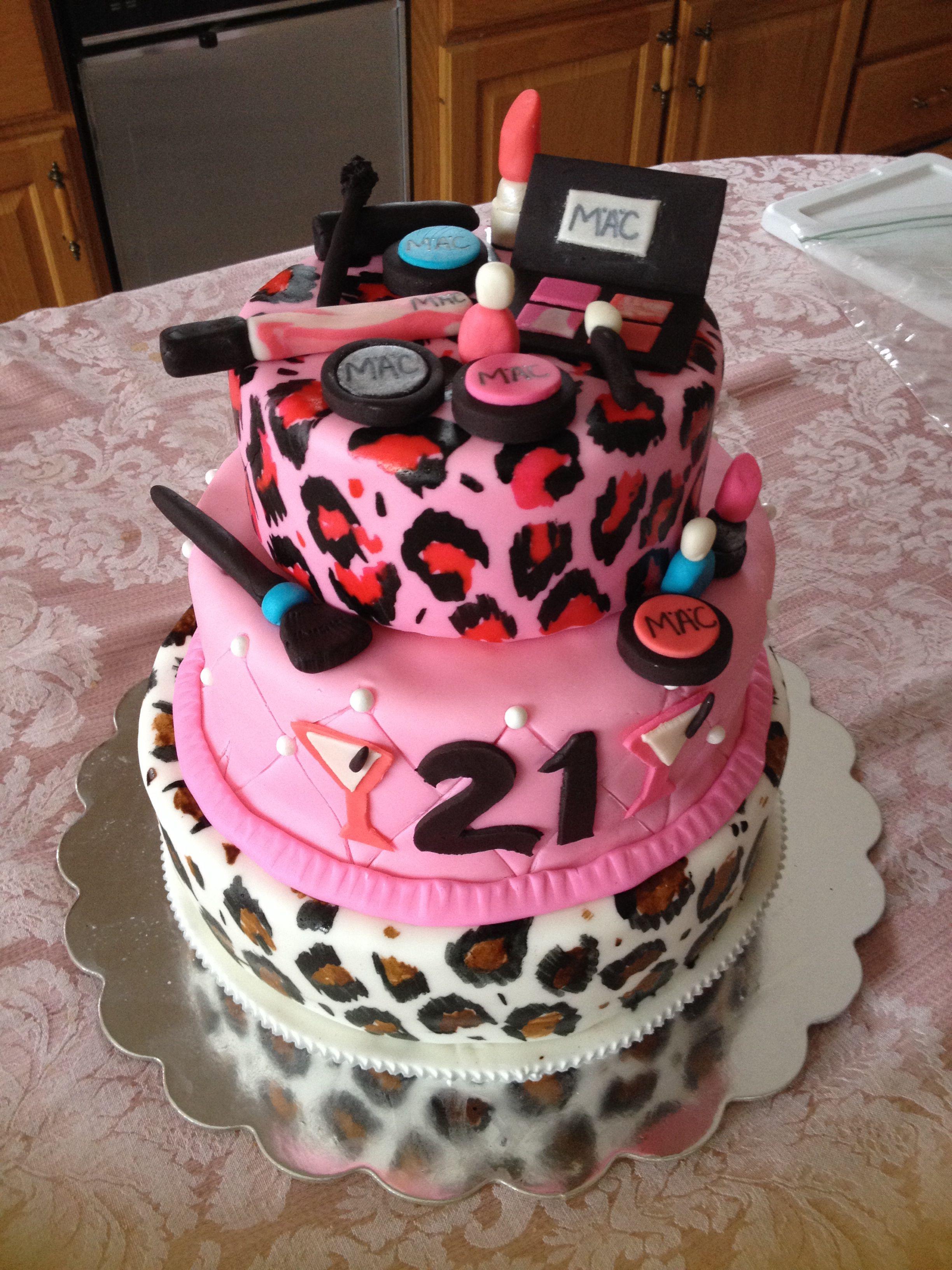 Leopard print 21st makeup birthday cake Cake, Makeup