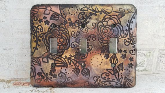 Steampunk Switchplate Cover Metal Switchplate by JustCoolThings
