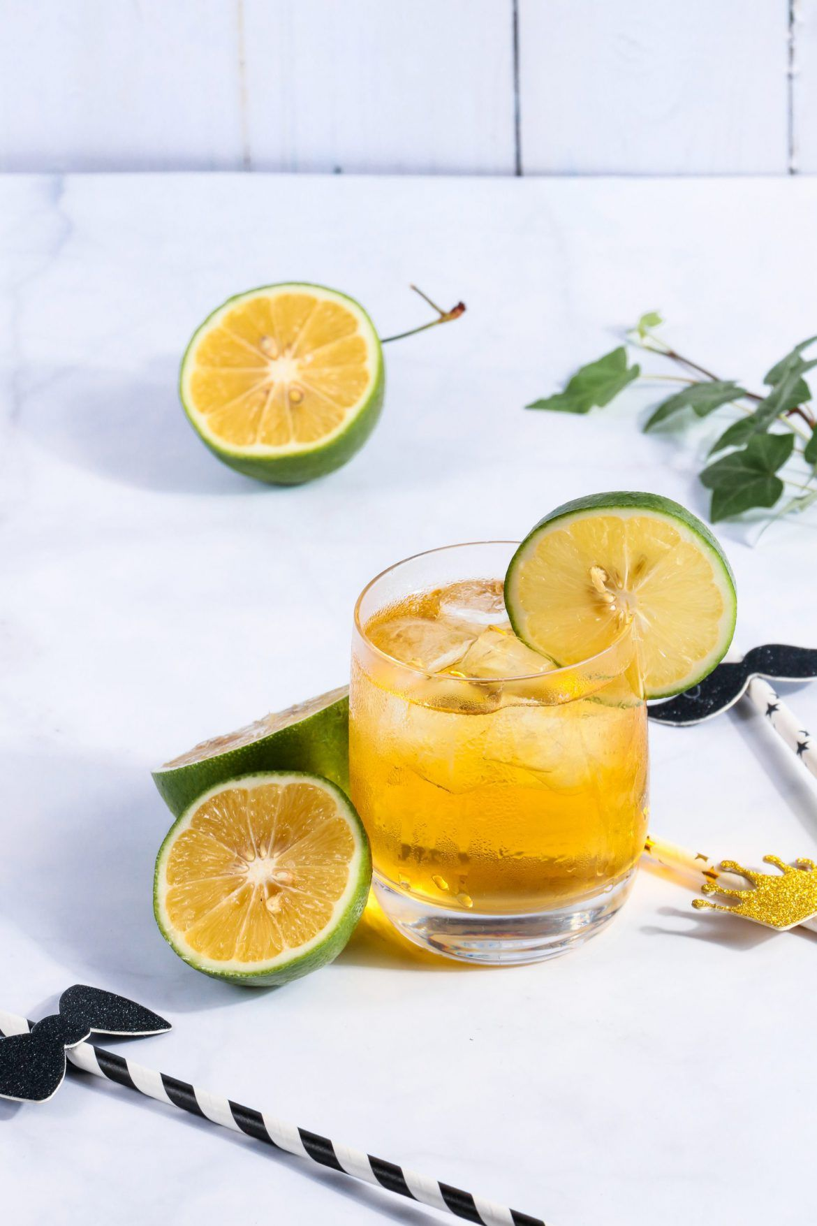 Glass Of Iced Tea With Lime Slices Free Stock Photo