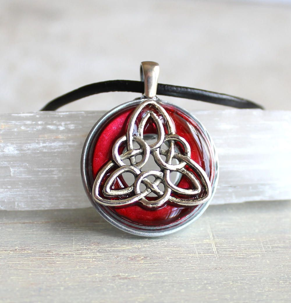 Red celtic knot necklace mens necklace mens jewelry leather cord red celtic knot necklace mens necklace mens jewelry leather cord unique gift aloadofball Choice Image