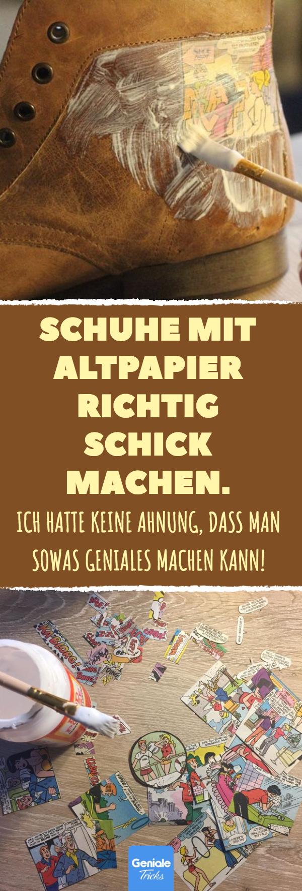 schuhe mit altpapier richtig schick machen. #diy #upcycling #zeitung