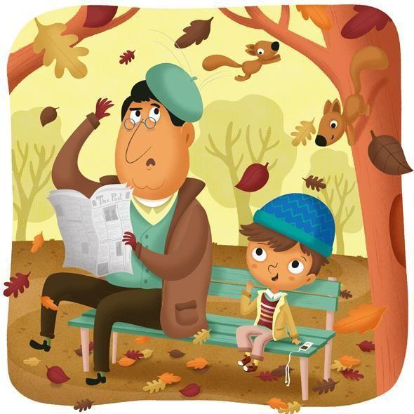 Some sassy little squirrels in Mattia Cerato's Autumn #illustration! http://ow.ly/Sh2f7 #kidlitart