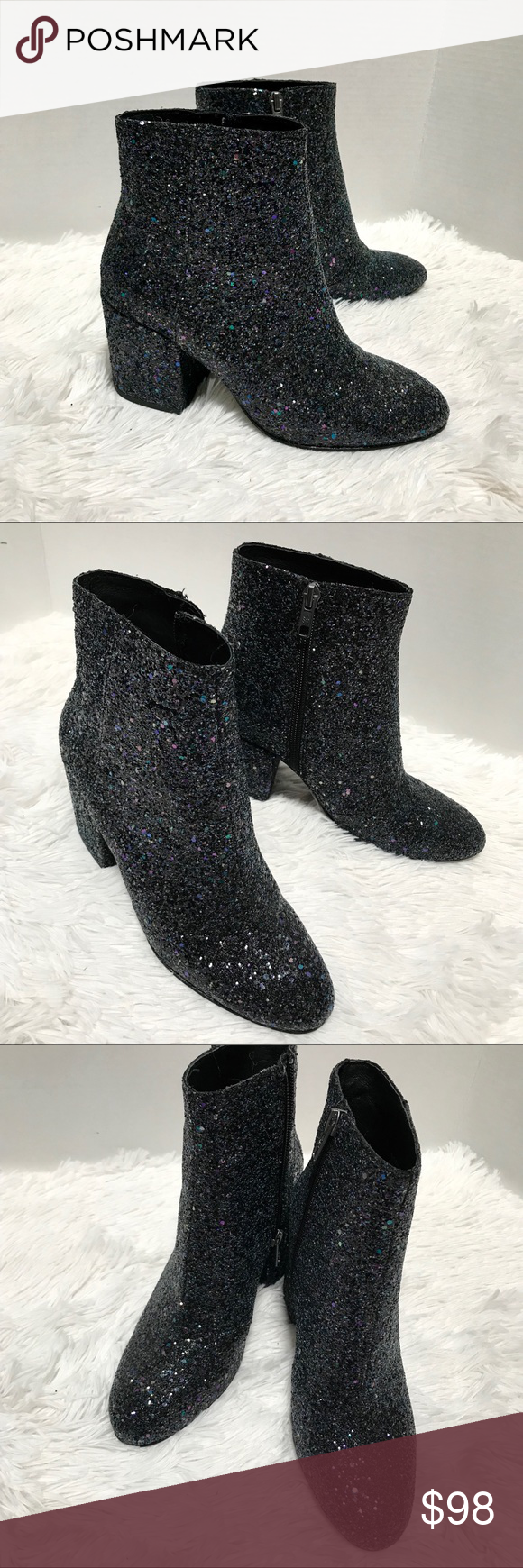 8dc778e1cf71 NEW - ASH Egoiste midnight glitter booties NEW without box ASH Midnight  booties Size 37 US 7 They are covered with chunky glitter all around