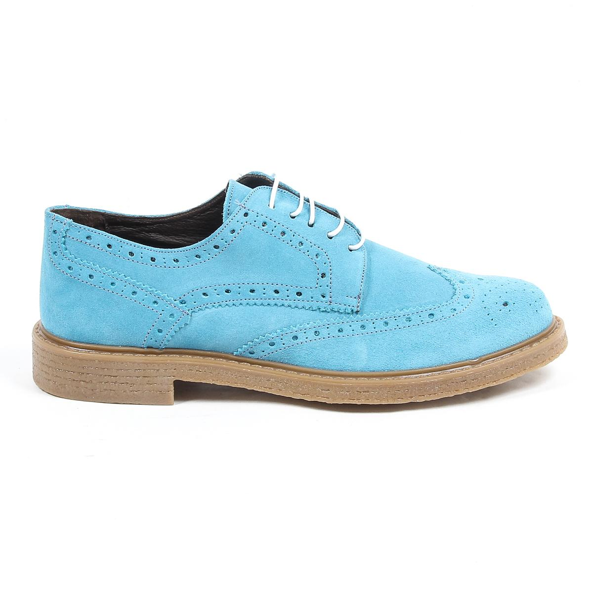 cd59356fb89d V 1969 Italia Mens Brogue Oxford Shoe. Details: 914 CAMOSCIO JEANS - Color:  Light Blue - Composition: 100% SUEDE LEATHER - Sole: 100% RUBBER - Made:  ITALY