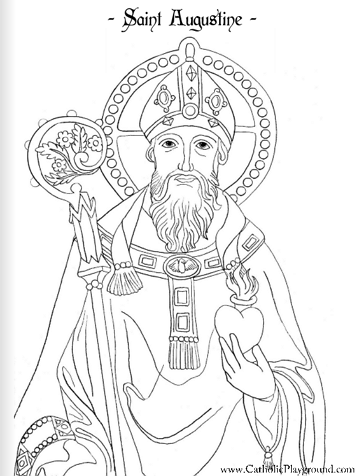 saint augustine catholic coloring page feast day is august 28th