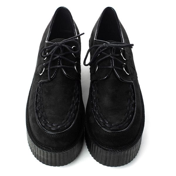 Leather Platform Creepers Black$88 (120 CAD) ❤ liked on Polyvore featuring shoes, creepers, sapatos, sneakers, leather footwear, kohl shoes, black shoes, platform shoes and black leather shoes