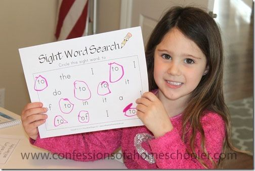 Sight words.  This blog is awesome. She has curriculums and worksheets. Different age levels.