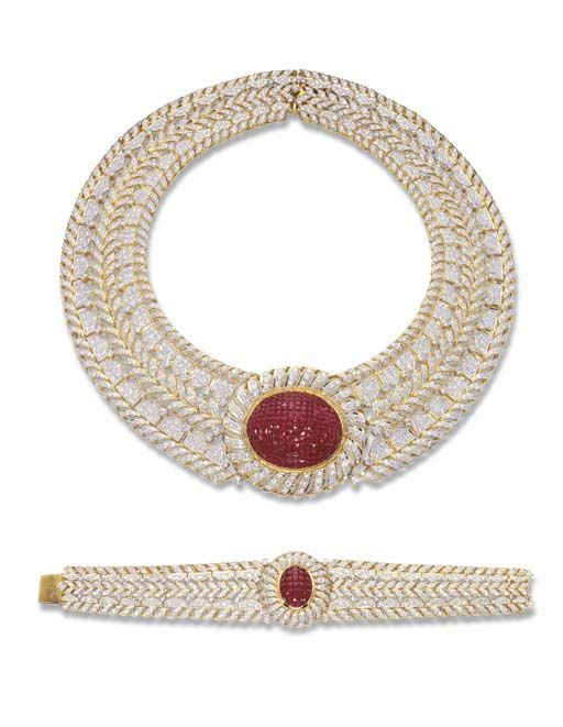 A RUBY AND DIAMOND NECKLACE AND BRACELET: