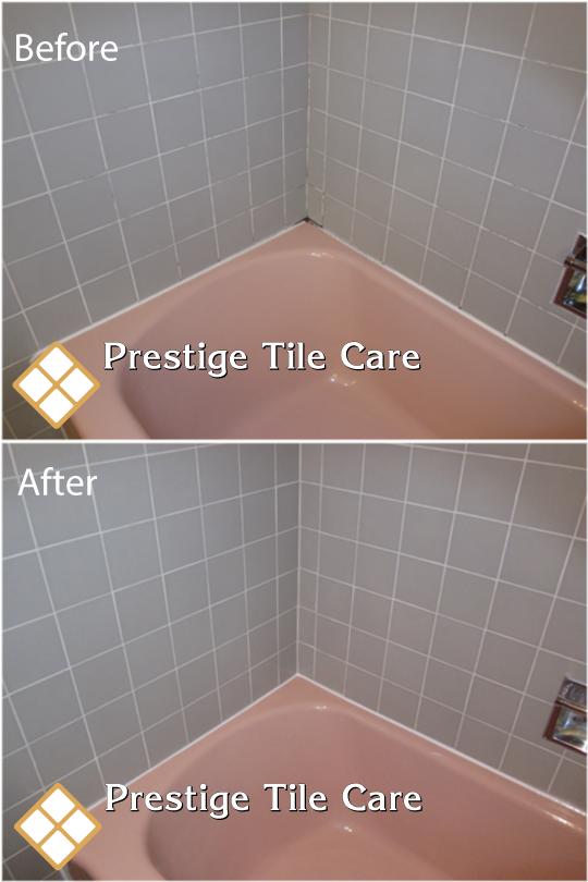 Regrouting and recaulking bathtub surround tiles