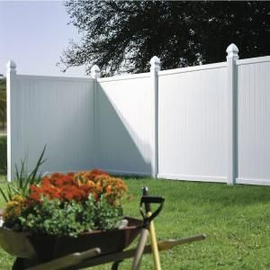 Veranda Somerset 6 Ft H X 6 Ft W White Vinyl Privacy Fence Panel 128009 The Home Depot Fence Panels Fence Panels Uk Vinyl Fence Panels