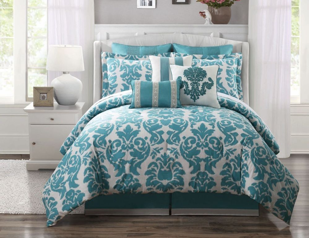 Imperial 9 Pc King Turquoise Cream Damask Cotton Comforter Set Sham Bed Pillows
