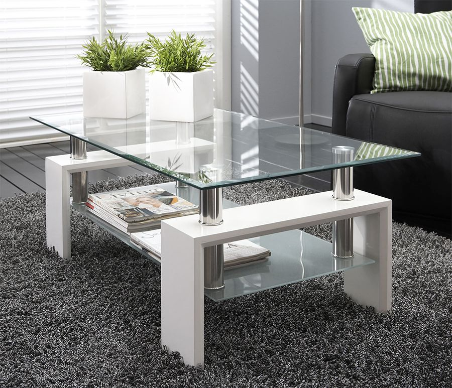 table basse en verre rectangulaire noir laqu ou blanc. Black Bedroom Furniture Sets. Home Design Ideas