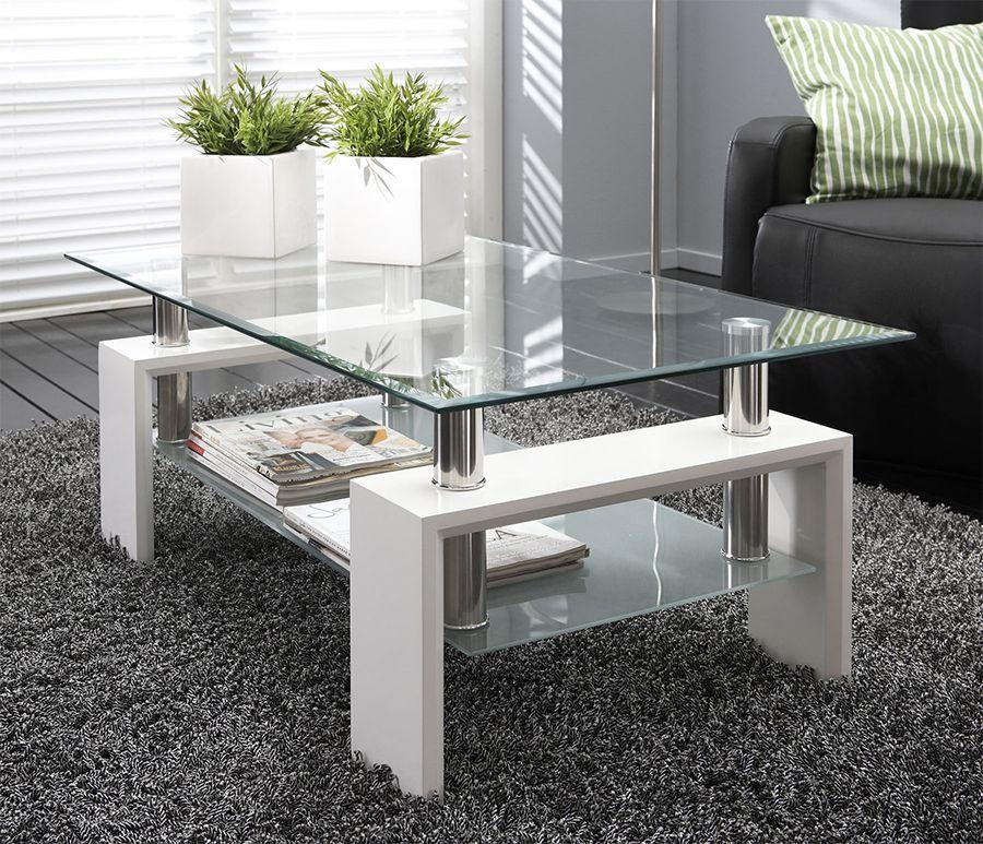 table basse en verre rectangulaire noir laqu ou blanc laqu design wilma 2 mesa sal n. Black Bedroom Furniture Sets. Home Design Ideas