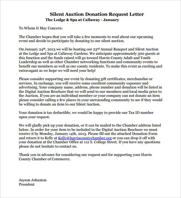 Image Result For Sample Donation Request Letter For Silent Auction