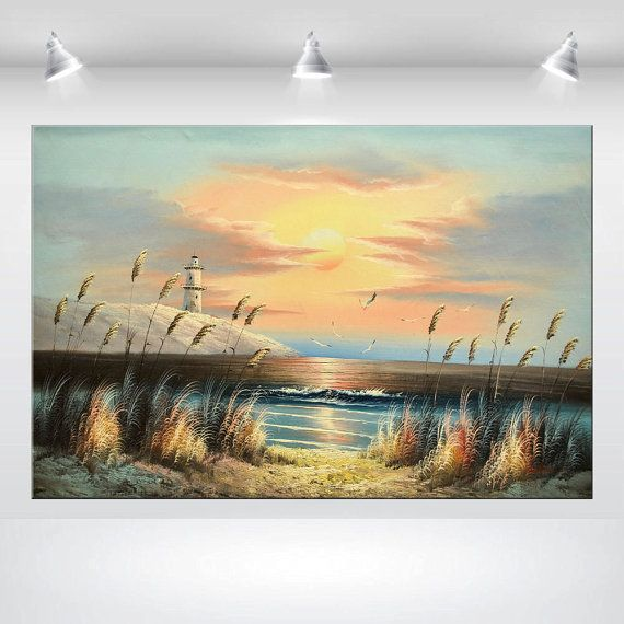 Large Acrylic painting Seascape Canvas Art Wall Art Abstract ...