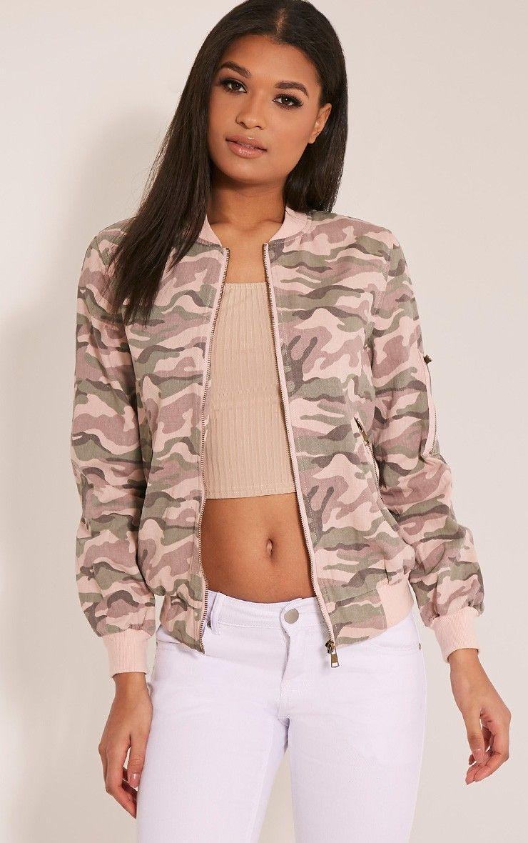 7da825c57 Ovia Pink Camouflage Bomber Jacket | Bomber Jackets | Pink camo ...