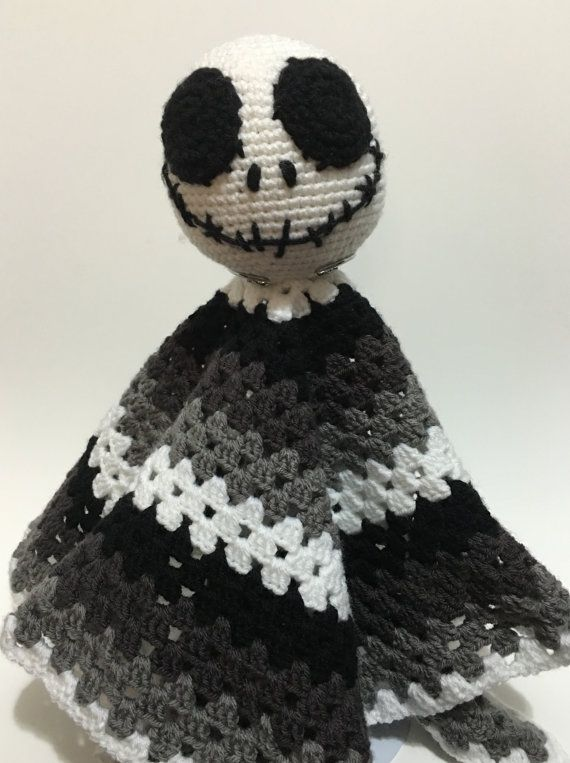 Hand made,crochet, black,white,grey, granny square, with a Jack ...