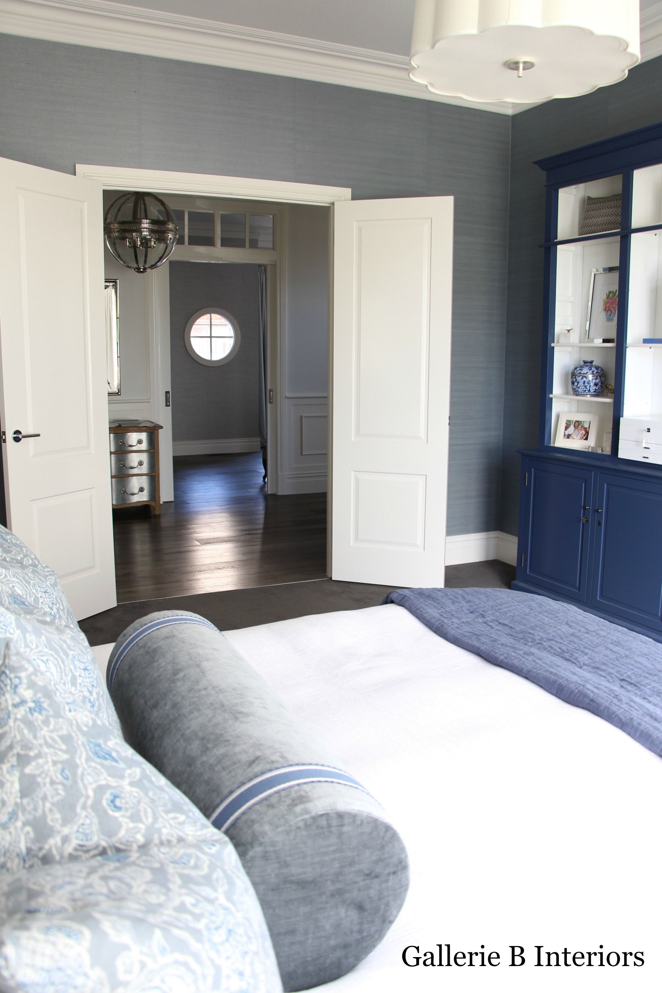 Gallerie B Interiors Master Bedroom. Blue grasscloth