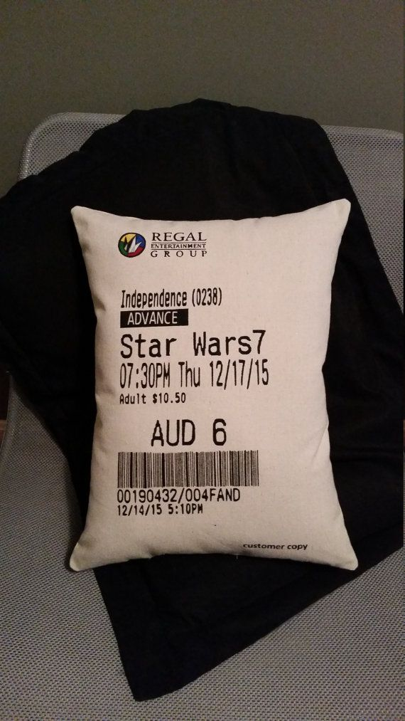 movie ticket stub pillow