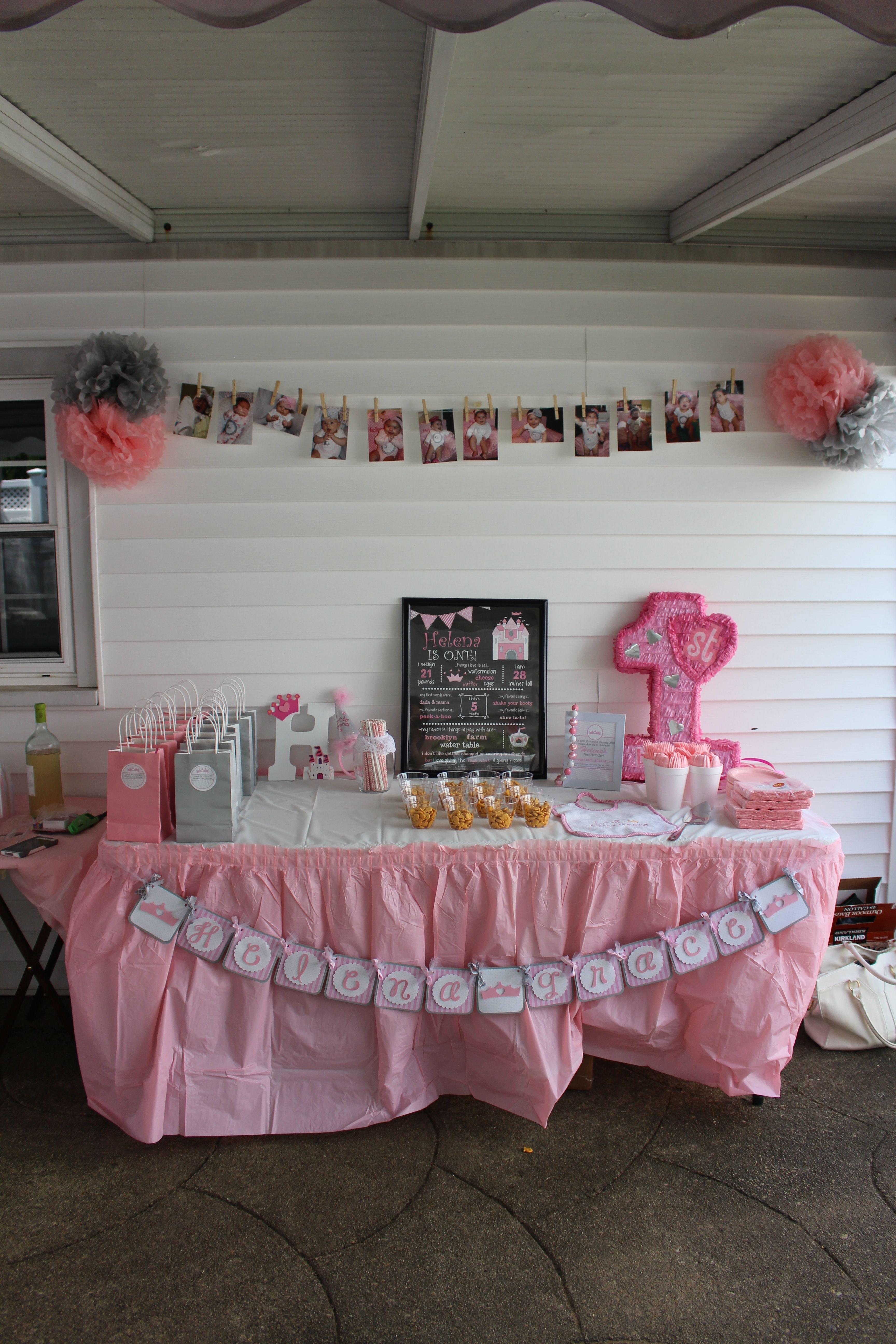 1st Birthday Princess Pink and Grey
