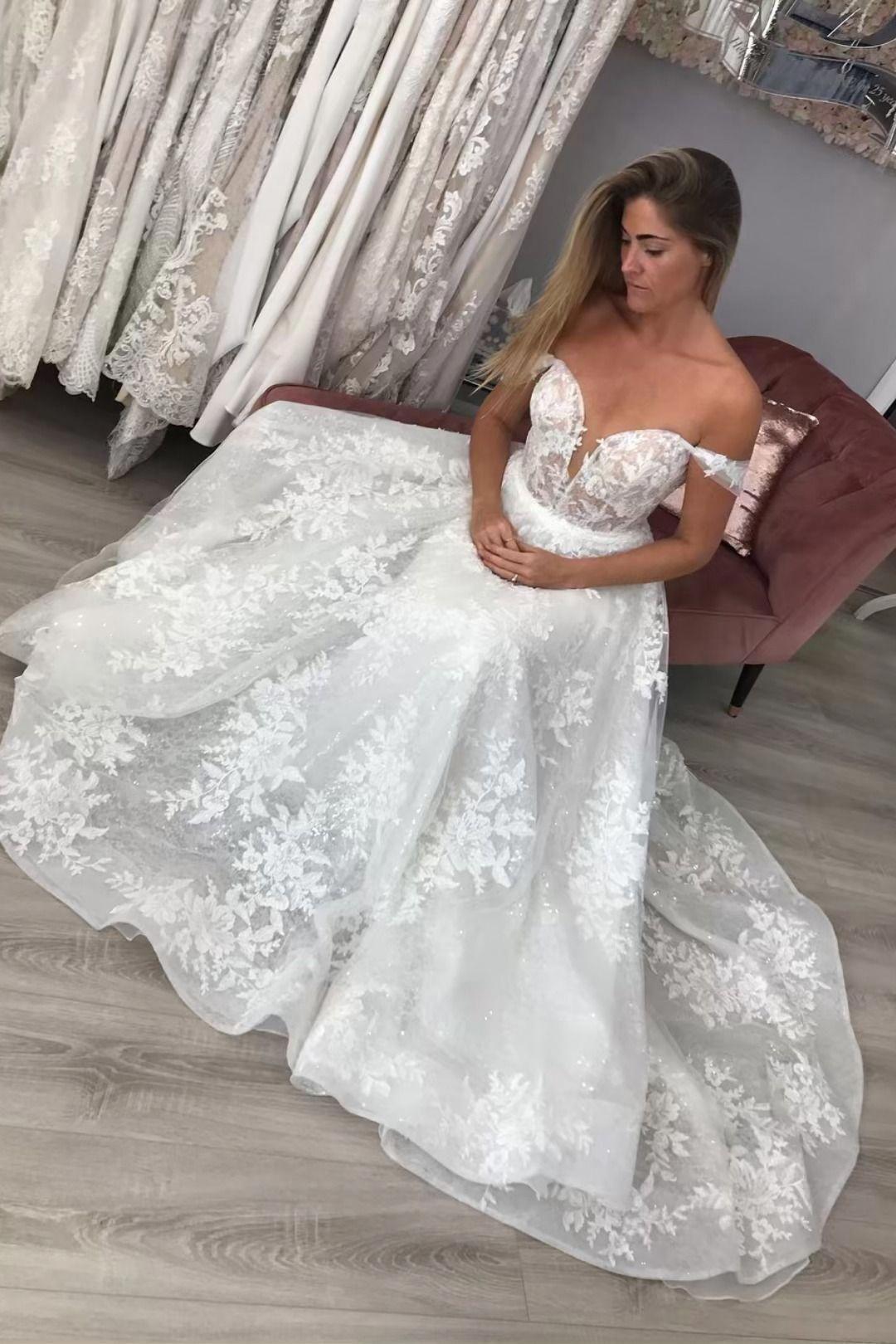 Romantic From the Shoulder White Longer Wedding Dress
