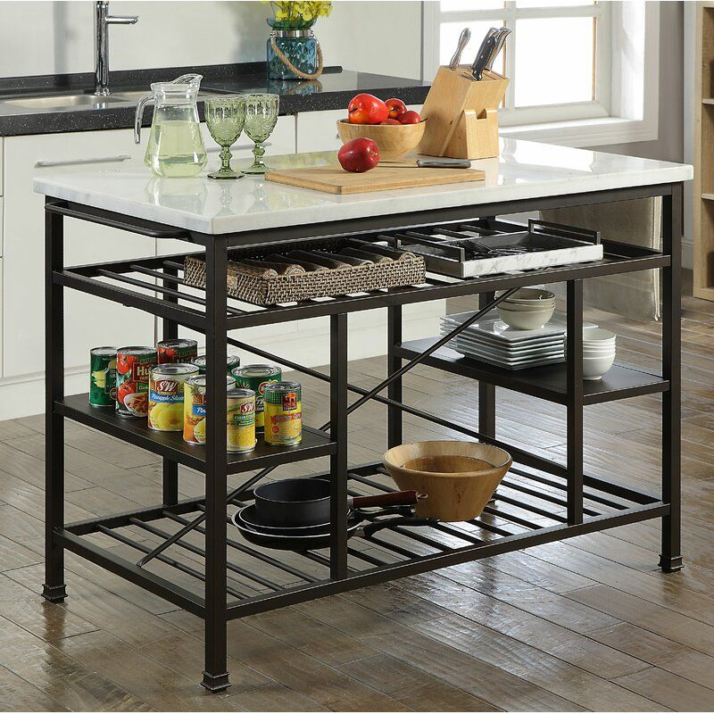 Detlev Prep Table With Marble Top In 2021 Metal Kitchen Island Marble Top Kitchen Island Portable Kitchen Island