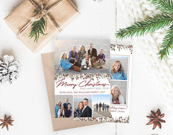 Christmas Card Template Floral Watercolor Christmas Merry Christmas Template For Photoshop Photographer Template Digital Design Christmas Card Template Digital Christmas Cards Christmas Cards