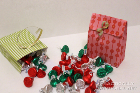 Make your own paper gift bags out of a sheet of scrapbook paper! Perfect gift bags for Valentine's treats!