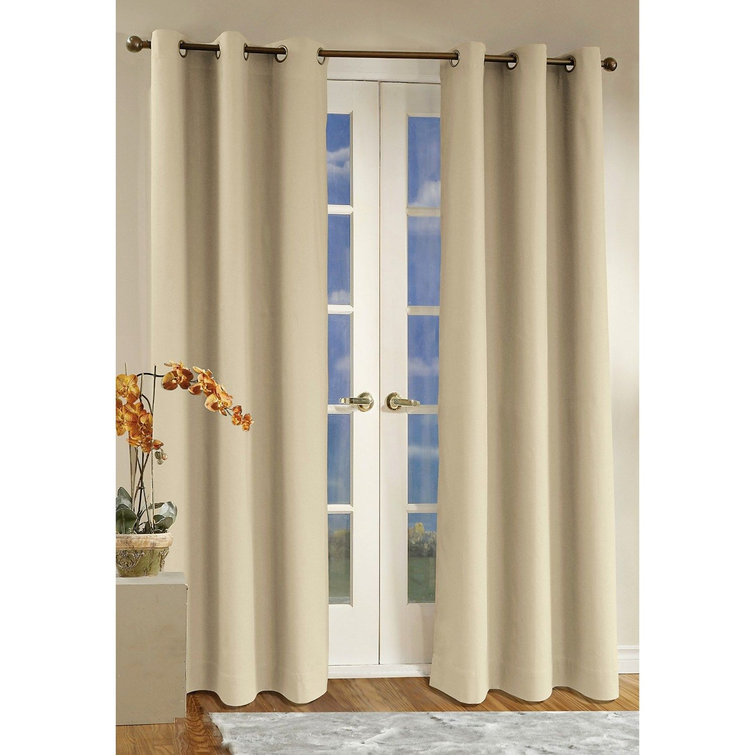 Interior Two Panel White Thermal Patio Door Curtain Curtains For