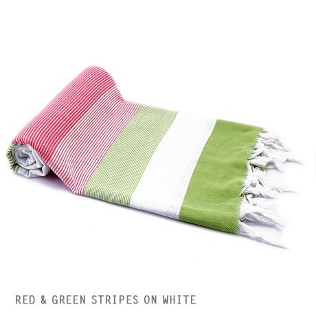 Turkish Pestemal Towels - Red and Green stripes on white $38 at Poketo
