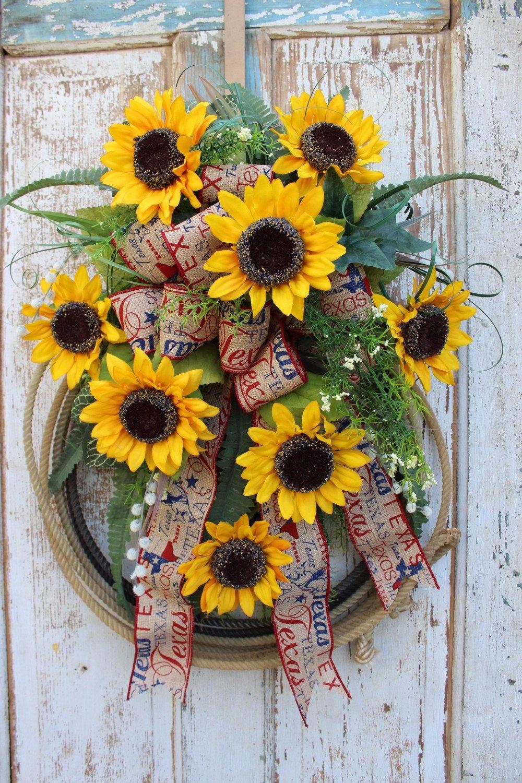 Fall sale texas sunflower western rope wreath lasso