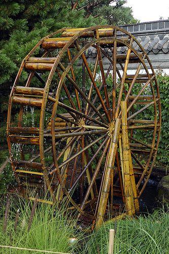 Bamboo Water Wheel Water Wheel Bamboo Structure Windmill Water