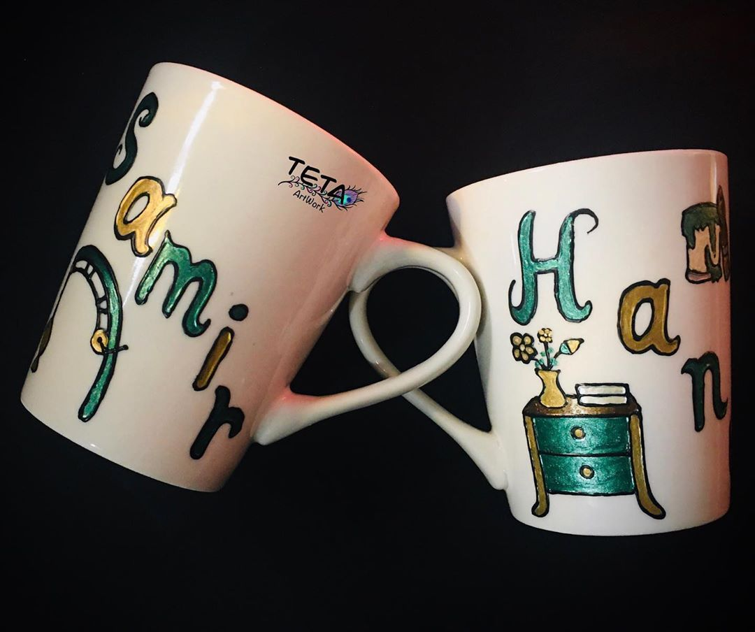 Hand Painting On Mugs My Gift To My Dear Friend S Hana Sam Home Decor By Hanaa For Eid Drawing Her Name And Her Husband S Name Painted Mugs Mugs Hand Painted
