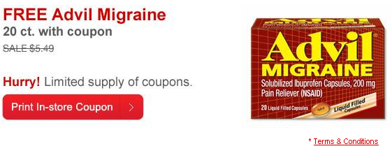 graphic regarding Advil Printable Coupon identify CVS: Totally free Advil Migraine 20 Rely w/ Printable Coupon