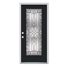 Reliabilt Wyngate 1 Panel Full Lite Right Hand Inswing Peppercorn Steel Painted Prehung Entry Door Common Entry Doors Steel Entry Doors Fiberglass Entry Doors