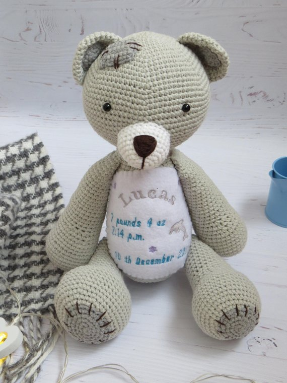 Green knitted Teddy Bear Custom teddy bear Knitted Toys Home decor Nursery Gift for kids Photo props for kids Will be made JUST FOR YOU