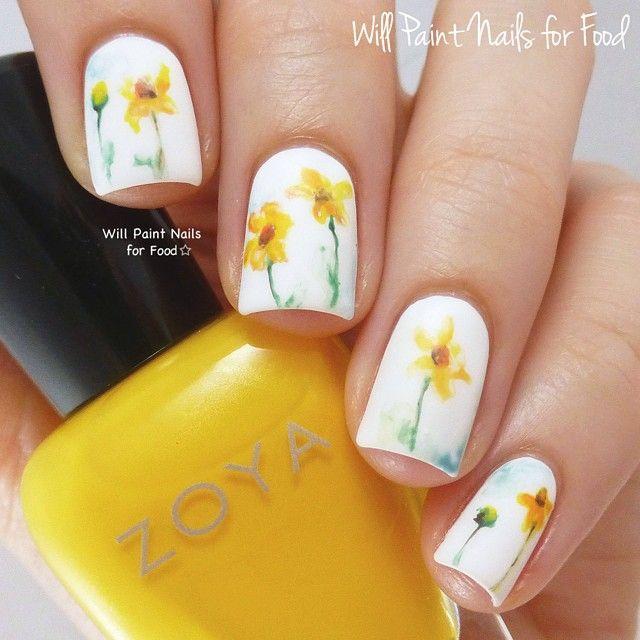 Daffodil Nails Willpaintnailsforfood Nail Ideas Pinterest