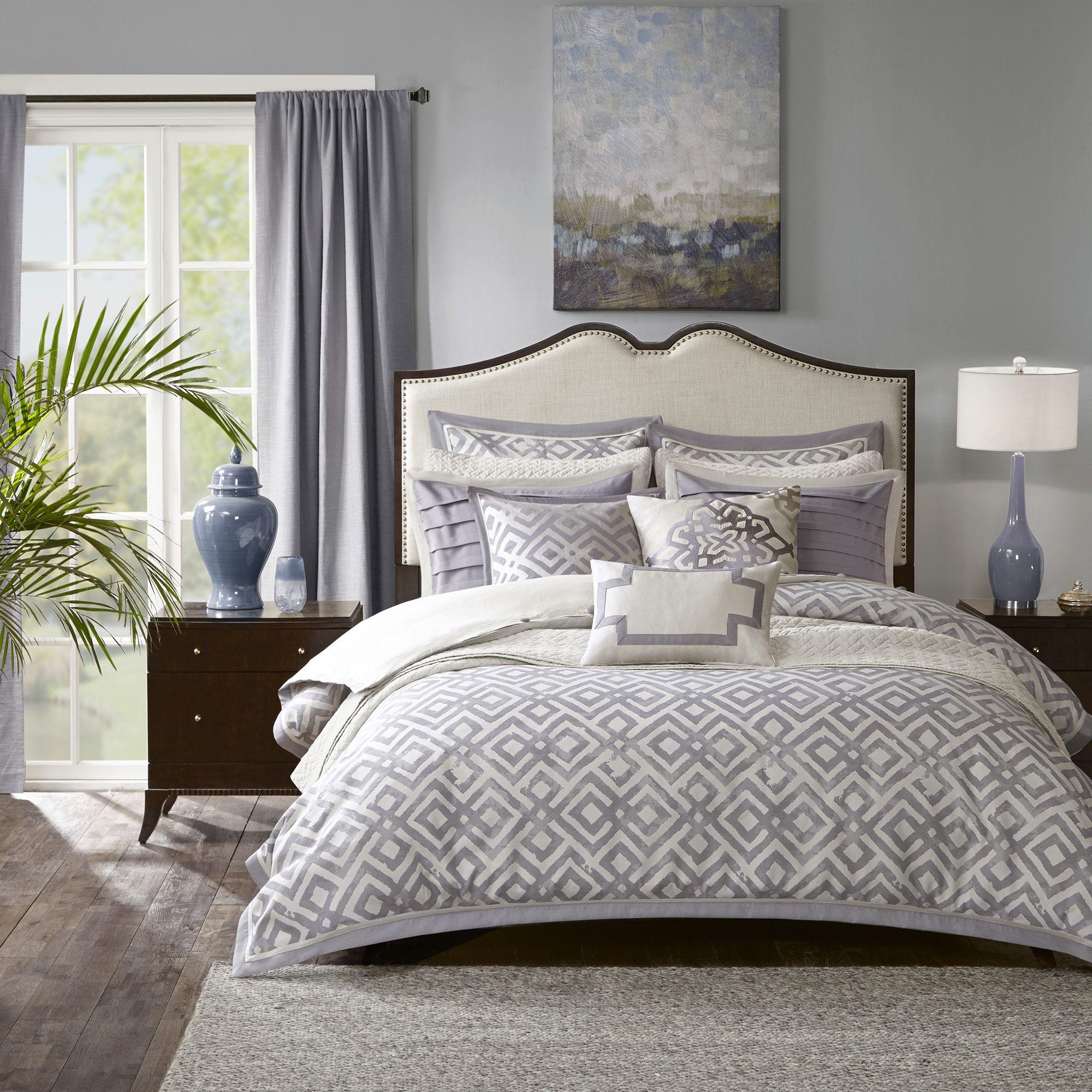 Madison Park Signature Stein Grey Jacquard Comforter Set King