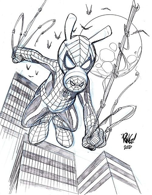 Spider Ham By Mike Wieringo With Images Comic Book Drawing