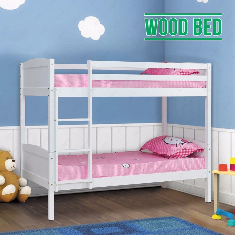 Best Children White Pine Wood Double Single Bunk Bed Frame 400 x 300